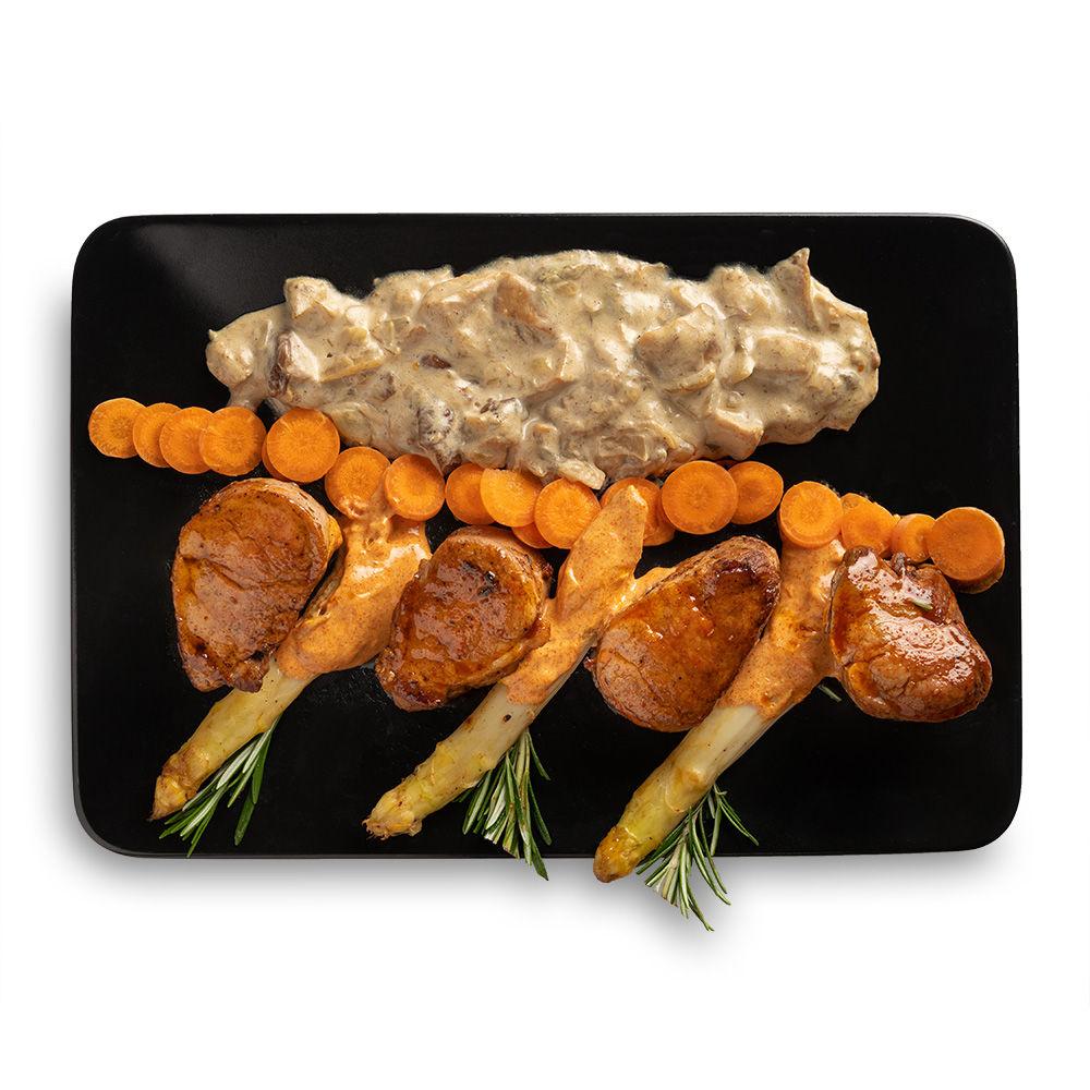 Muschiulet de porc la cuptor cu sos de smantana si ciuperci